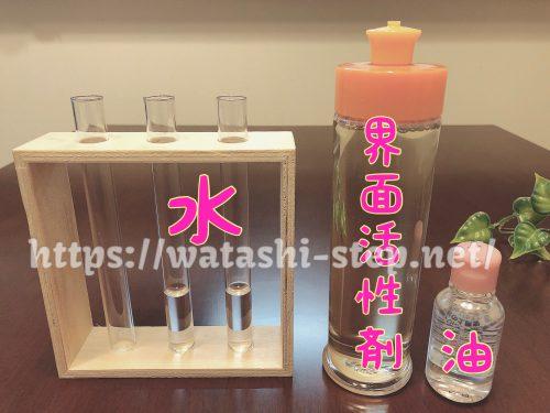 水、界面活性剤、油を並べている