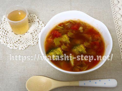 ベルタ酵素ドリンクと回復食の野菜スープ(トマト缶を入れたアレンジ編)