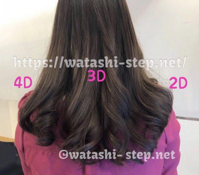 私の髪でヘアビューロン2D Plus 3D Plus 4D Plusを巻き比べた